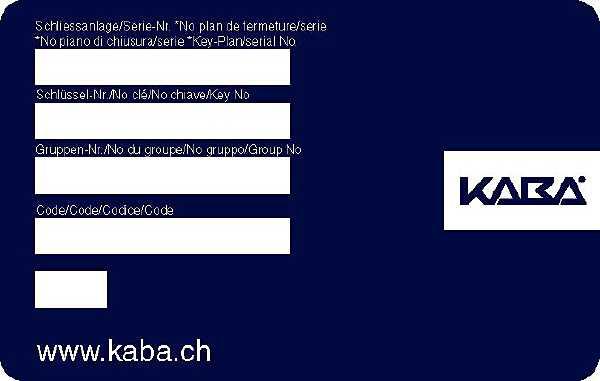 Schluesseldienst Zürich Kaba Sicherheitskarte für Nachschluessel Bestellung